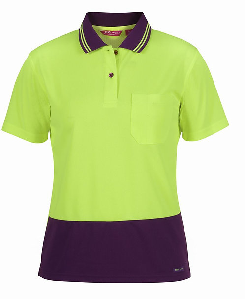 Womens Hi Vis S/S Comfort Polo - Lime/Mulberry
