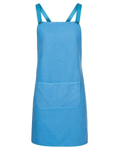 Aqua Canvas Cross Back Apron with Changeable Straps