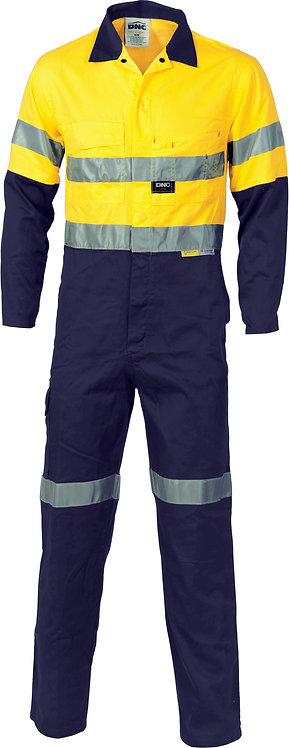 HiVis Cool-Breeze L.Weight Cotton Coverall with 3M R/Tape - Yellow / Nav