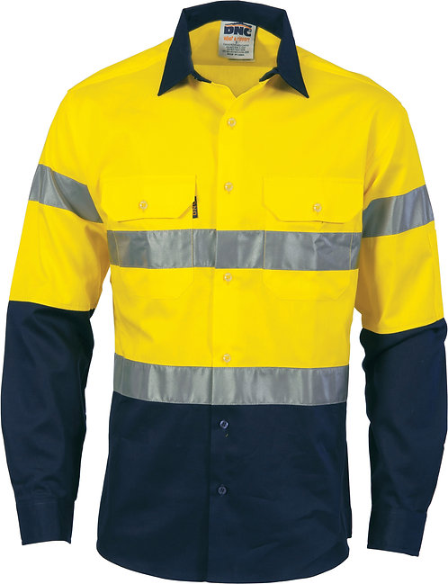 DNC Hi-Vis Cool-Breeze Cotton Shirt with Generic R/Tape L/S - Yellow/Navy