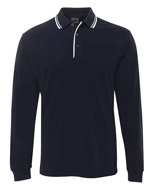 LS Contrast Polo - Navy/White