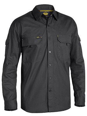 Bisley Mens X Airflow Ripstop LS Work Shirt - Charcoal