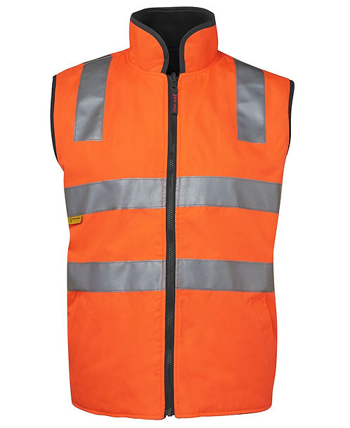 Hi-Vis Reversible Vest (D+N) - Orange/Black