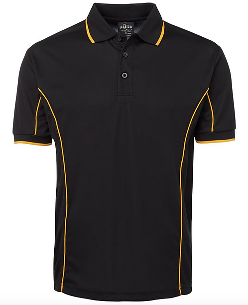 PODIUM S/S PIPING POLO - BLACK / GOLD