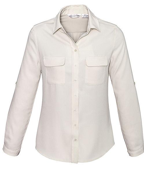 Ladies Madison Long Sleeve Shirt - Ivory