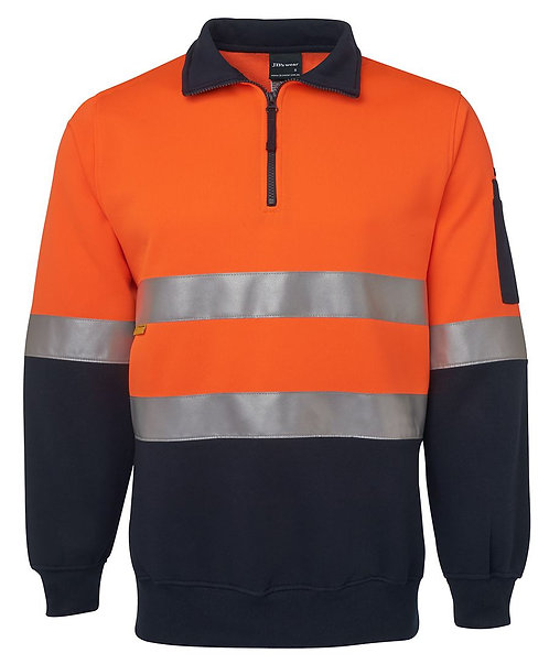 Hi Vis 1/2 Zip (D+N) Fleecy Sweat - Orange/Navy