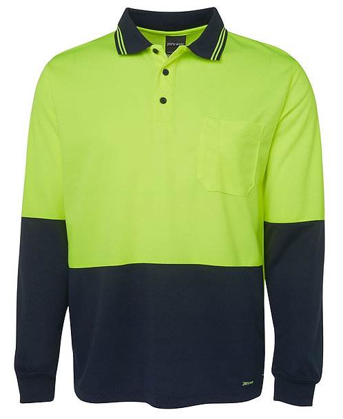 Hi-Vis L/S Polo - Lime/Navy