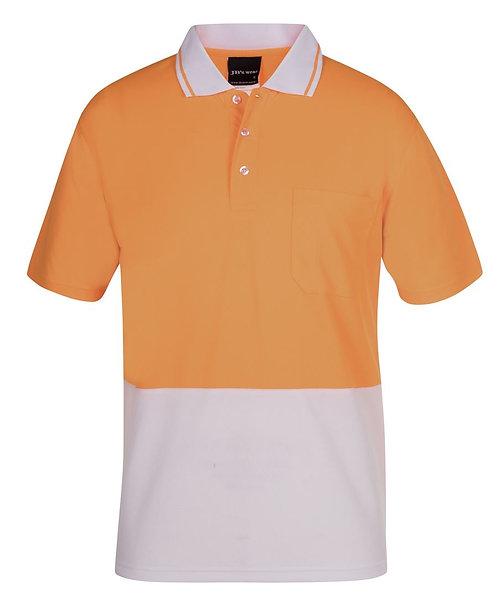 Hi-Vis Non Cuff Traditional Polo - Orange/White