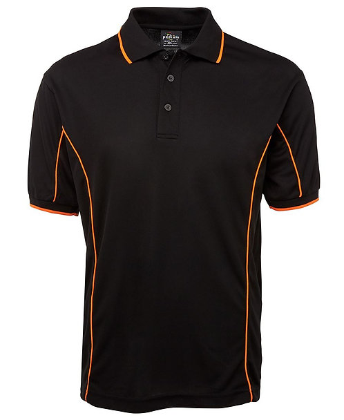 Mens S/S Piping Polo - Black / Orange