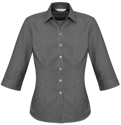 Womens Small Check 3/4 Shirt - Black