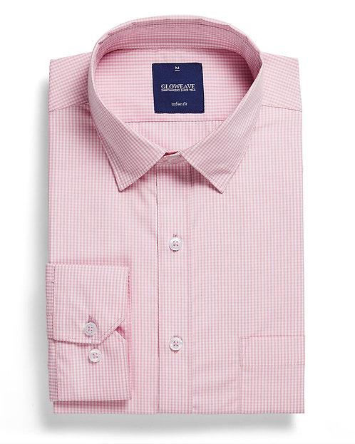 Mens Gingham Check Shirt Pink
