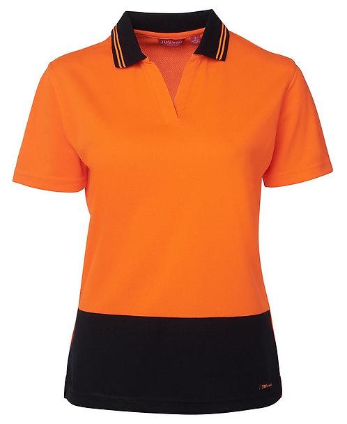 Womens Hi-Vis Ladies S/S Non Button Polo Shirt - Orange / Navy