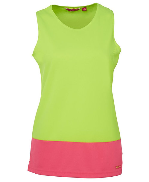 Womens Hi Vis Traditional Singlet - Lime/Pink