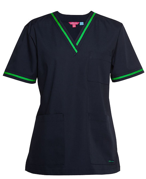 Ladies Essential Contrast Scrubs Top - Navy/Pea Green