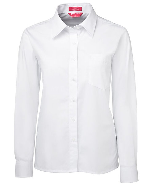 Womens LS Poplin Shirt - White
