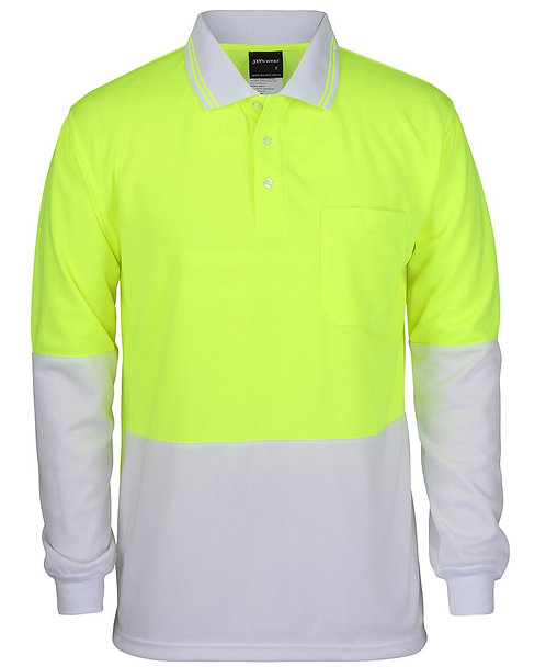 Hi-Vis L/S Polo - Lime/White