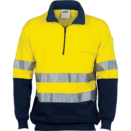 Hi Vis 1/2 Zip Cotton Fleecy Windcheater with 3M R/Tape -Safety Yellow/N