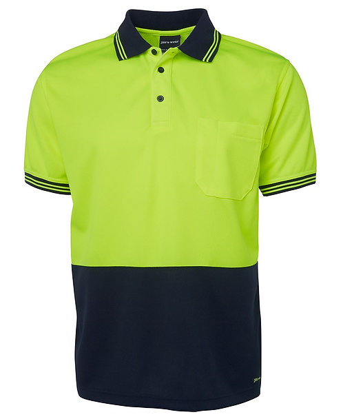 Hi-Vis S/S Traditional Polo - Lime/Navy