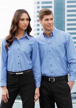 Womens 100% Cotton Chambray LS Shirt