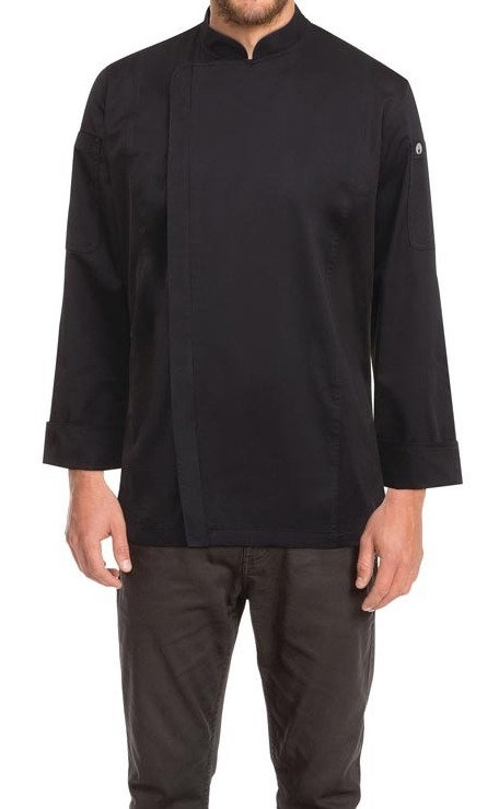 Mens Hartford Zipper Chef Jacket - Black