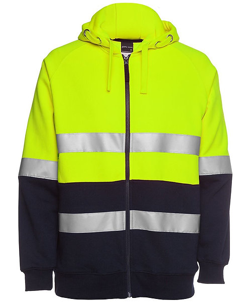 Hi Vis (D+N) Full Zip Fleecy Hoodie - Lime/Navy