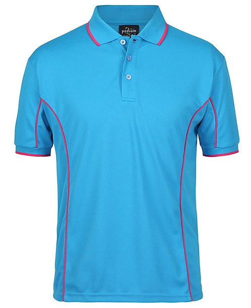 Mens S/S Piping Polo - Aqua/Hot Pink