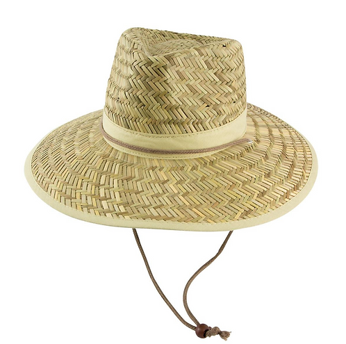 Straw Hat W/Toggle Including Your Choice of Coloured Band - MOQ 10