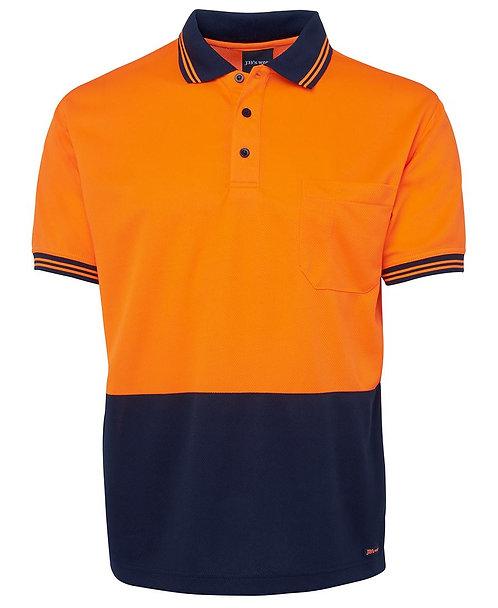 5 PACK Hi-Vis S/S Traditional Polo - Orange/Navy