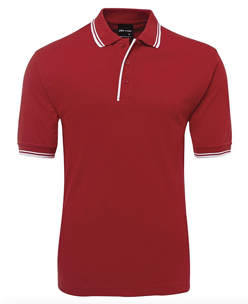 CONTRAST POLO - RED / WHITE