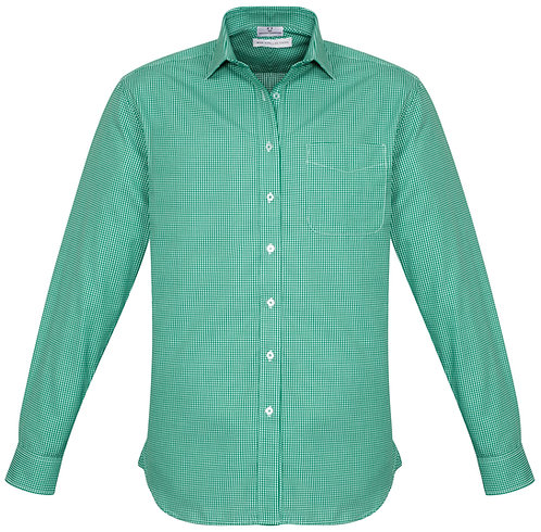 Mens Small Check LS Shirt - Dark Green