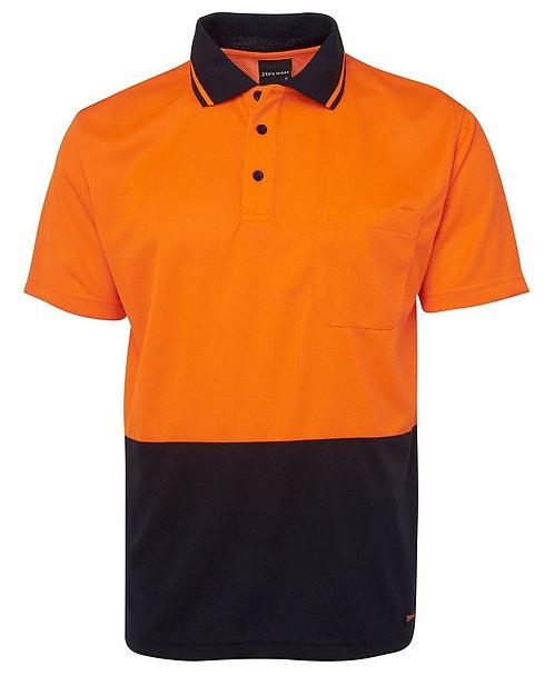 Hi-Vis Non Cuff Traditional Polo - Orange/Navy