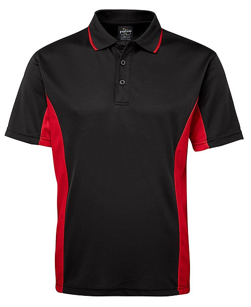 Mens Podium Contrast Polo - Black/Red