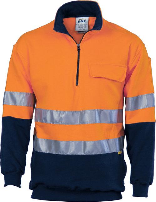 Hi Vis 1/2 Zip Cotton Fleecy Windcheater with 3M R/Tape -Safety Orange/Navy