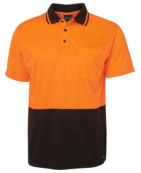 Hi-Vis Non Cuff Traditional Polo - Orange/Black
