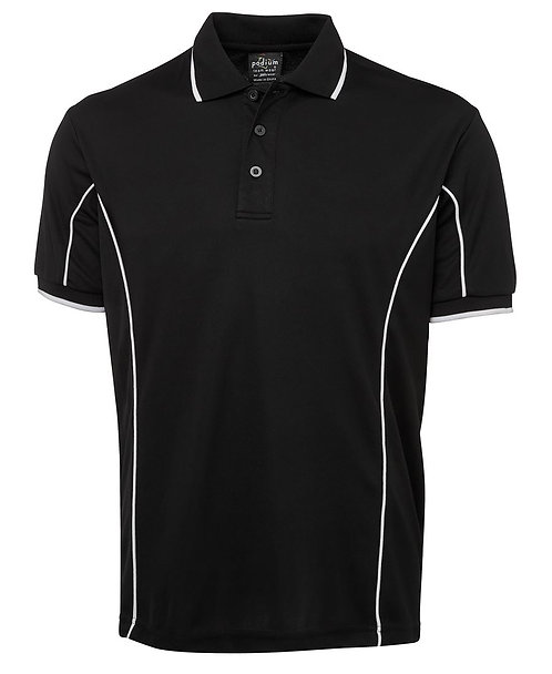 Mens S/S Piping Polo - Black / White