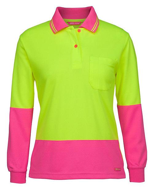 Ladies Hi VIs L/S Comfort Polo - Lime/Pink
