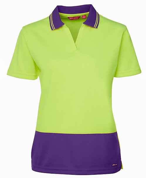 Womens Hi-Vis Ladies S/S Non Button Polo Shirt - Lime/Purple