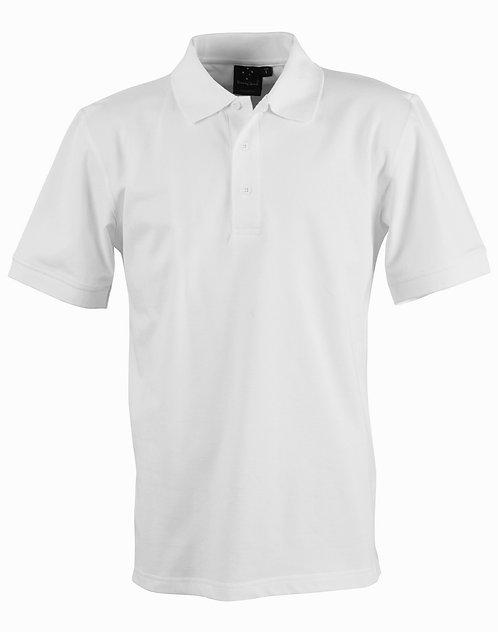 Mens Harbour Polo 95% Cotton Pique SS Polo - White