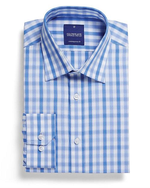 Mens Soft Tonal Check Shirt Blue