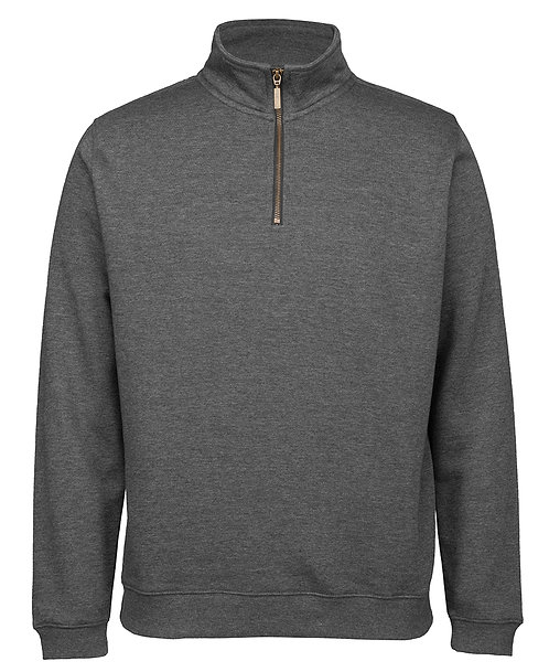 Cotton Rich 1/2 Brass Zip Windcheater - Charcoal Marle