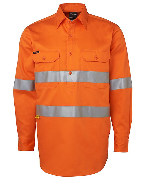 Hi Vis L/S (D+N) 190g Close Front Shirt - Orange