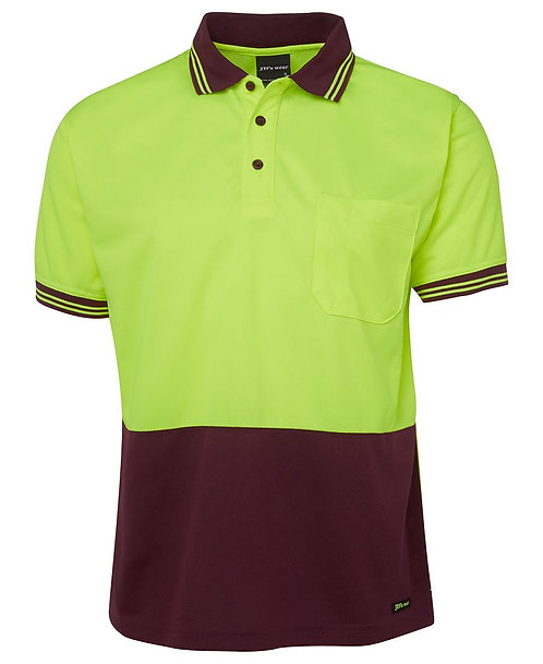 Hi-Vis S/S Traditional Polo - Lime/Maroon