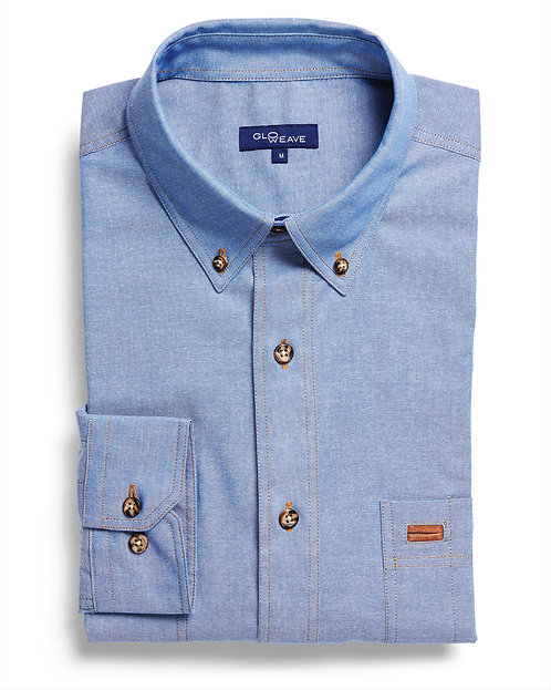 Mens 100% Cotton Iconic Chambray LS Shirt - Blue