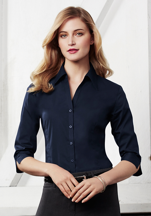Ladies Metro 3/4 Sleeve Shirt - Navy
