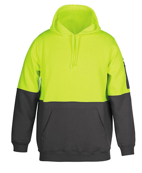Hi Vis 280G Pull Over Hoodie - Lime/Charcoal