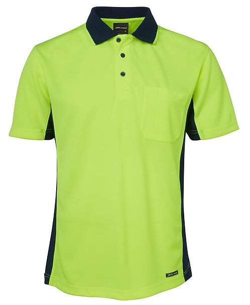 Hi Vis S/S Sport Polo - Lime/Navy
