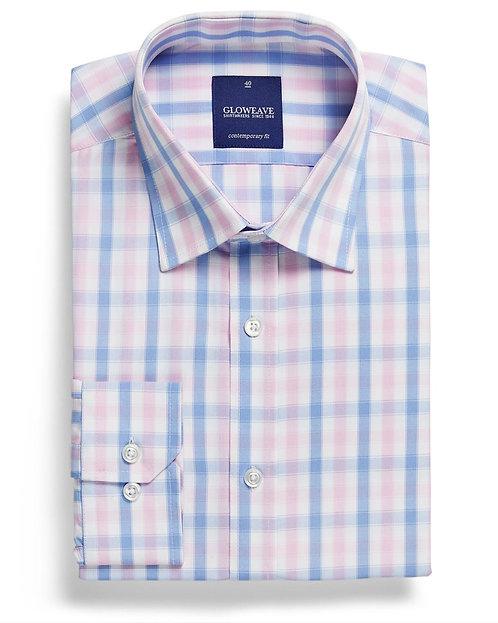 Mens Soft Tonal Check Shirt Pink