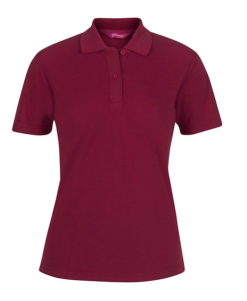 Ladies Basic Pique SS Polo - Dark Red