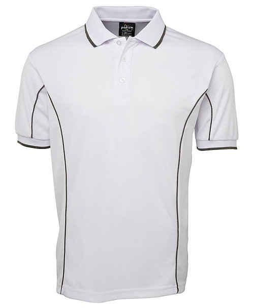Men's S/S Piping Polo -  White / Grey