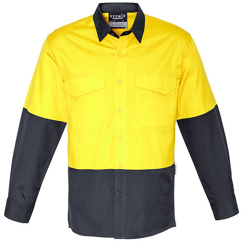 Mens Rugged Cooling Hi Vis Spliced Shirt - Yellow/Charcoal